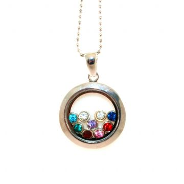 34mm living memory floating charm locket - rhodium plated